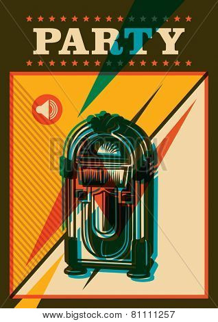 Party poster with jukebox. Vector illustration.