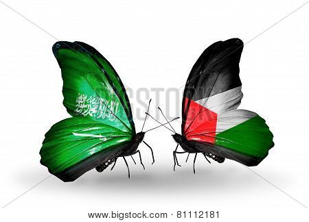 Two Butterflies With Flags On Wings As Symbol Of Relations Saudi Arabia And Palestine