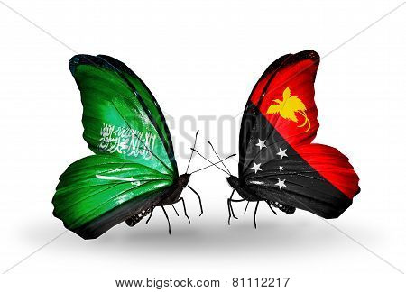 Two Butterflies With Flags On Wings As Symbol Of Relations Saudi Arabia And Papua New Guinea