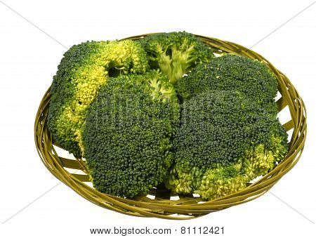 Isolated basket with broccoli florets