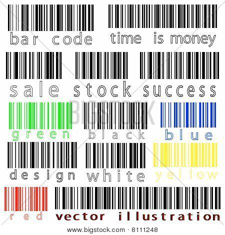 Bar Codes Vector Against White