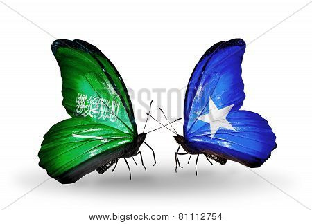 Two Butterflies With Flags On Wings As Symbol Of Relations Saudi Arabia And Somalia