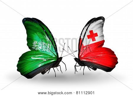 Two Butterflies With Flags On Wings As Symbol Of Relations Saudi Arabia And Tonga