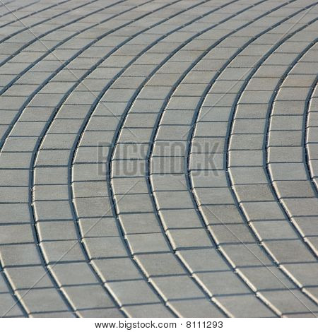 Radial Cobblestone Pavement Texture Background, Isolated