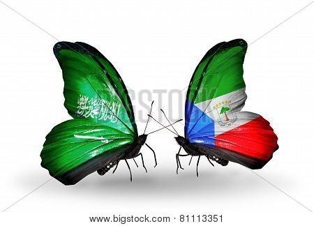 Two Butterflies With Flags On Wings As Symbol Of Relations Saudi Arabia And Equatorial Guinea