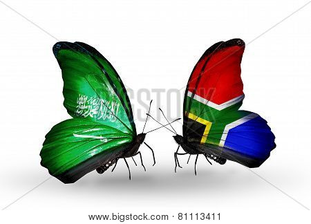Two Butterflies With Flags On Wings As Symbol Of Relations Saudi Arabia And  South Africa