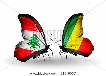 Two Butterflies With Flags On Wings As Symbol Of Relations Lebanon And Kongo