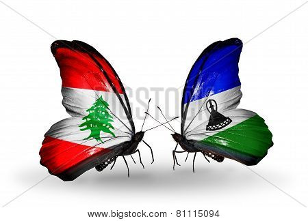 Two Butterflies With Flags On Wings As Symbol Of Relations Lebanon And Lesotho