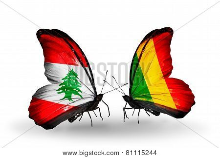 Two Butterflies With Flags On Wings As Symbol Of Relations Lebanon And Mali