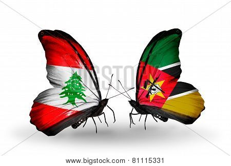 Two Butterflies With Flags On Wings As Symbol Of Relations Lebanon And Mozambique