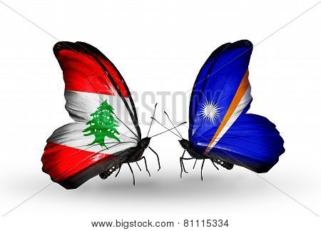 Two Butterflies With Flags On Wings As Symbol Of Relations Lebanon And Marshall Islands