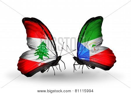 Two Butterflies With Flags On Wings As Symbol Of Relations Lebanon And Equatorial Guinea