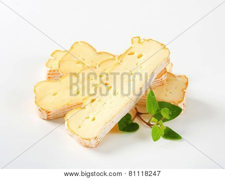 Slices of Alsatian Munster cheese
