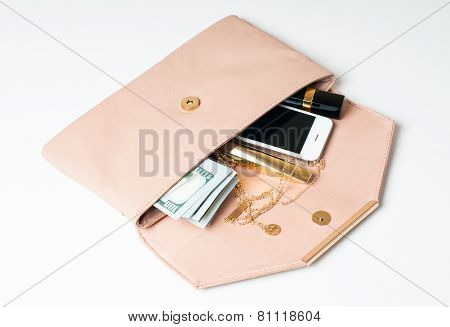 Beige Woman's Clutch Handbag