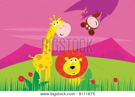 Funny jungle africa animals: Giraffe, Lion and Monkey