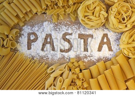 Pasta Word With Wood Background