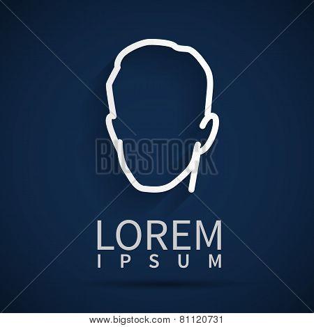Head Icon Isolated On Dark Background