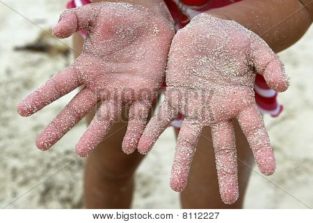Children Girl Beach Sand Hands Facing Camera