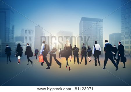 Commuter Buiness People Corporate Cityscape Walking Travel Concept