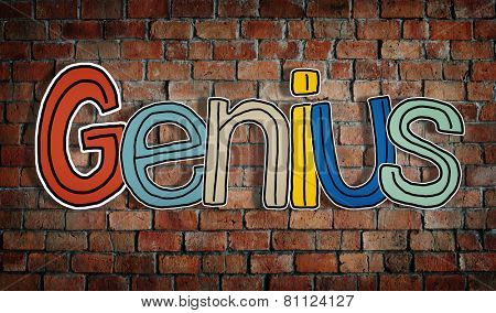 Word Genius on a Brick Wall Background