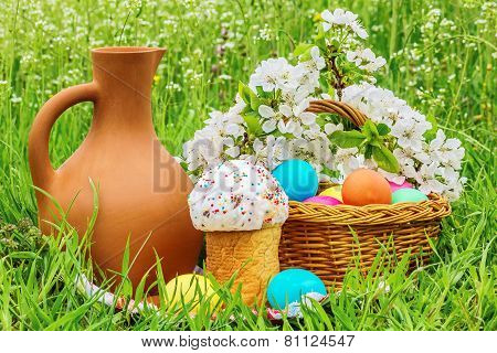 Easter Picnic On The Flowered Meadow