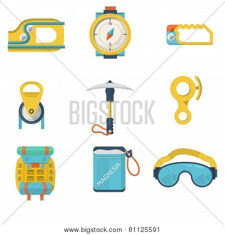 Flat color vector icons for mountaineering equipment