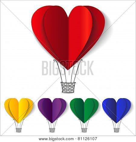 Set of Heart-shaped hot air balloons background vector llustration