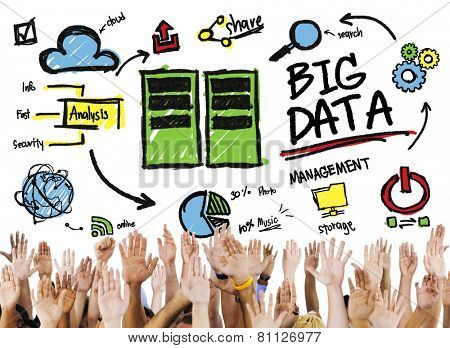 Diversity Hands Big Data Support Teamwork Togetherness Concept