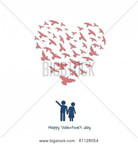 Valentines day greeting card - couple & doves heart