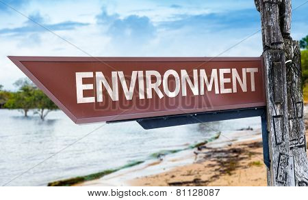 Environment wooden sign with a lake background