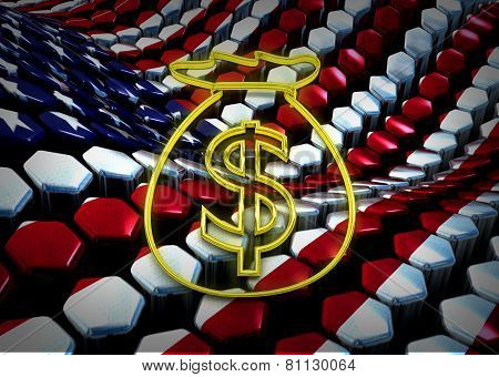 american dolar illustration with usa flag background