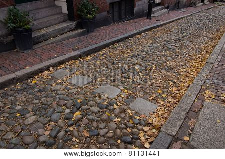 Crosswalk In Cobblestone Street