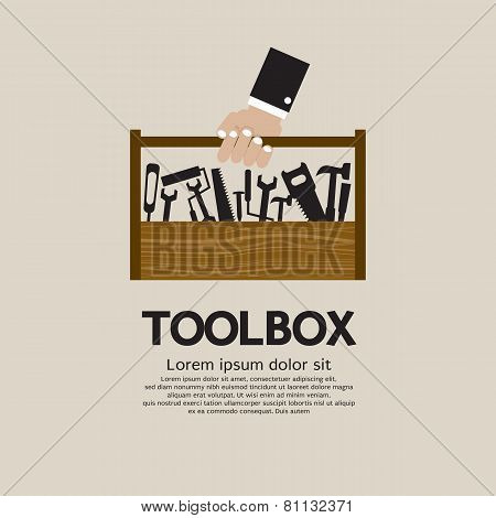 Hand Holding A Mechanic Toolbox.