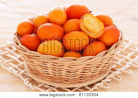 Fruit Jocote (red, Purple Mombin, Hog Plum, Ciruela Huesito, Sineguela, Siriguela) In Wicker Basket