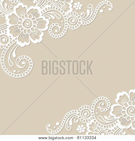 Flower vector ornament corner. Vector illustration.