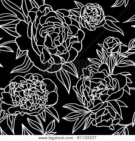 Peony flower lace seamless pattern. Vector illustration.