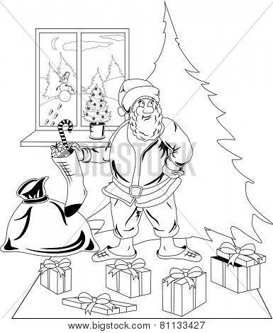 Illustration of Santa Claus carrying a bag of Christmas presents dropping a present under the Christmas tree