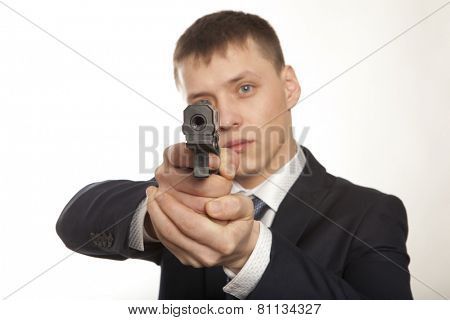 Businessman bodyguard on grey background