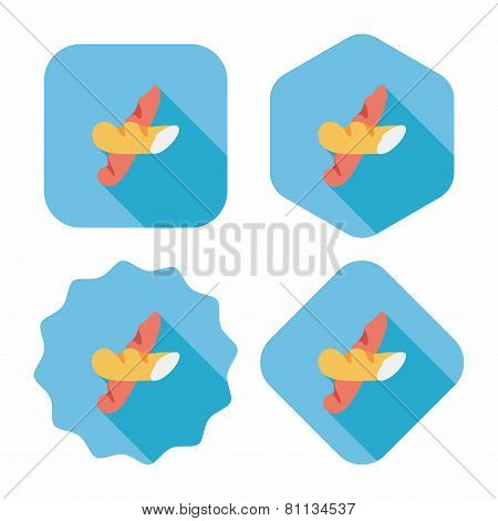 French Bread Flat Icon With Long Shadow,eps10