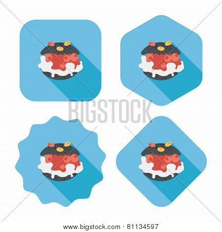 Cream Puffs Flat Icon With Long Shadow,