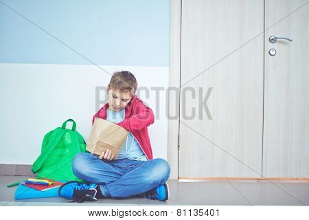 Cute schoolboy unpacking his lunch while sitting on the floor by classroom door