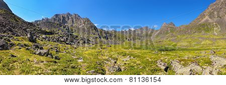 Mountain - Dinosaur. Panorama Of Summer Alpine Tundra