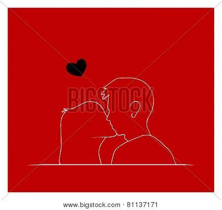 Couple Kissing In Front Of Red Background