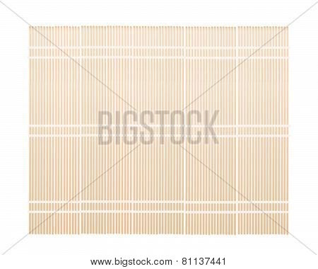 A Brown Bamboo Mat On White Background