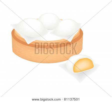 Chinese Steamed Bun And Creamy Stuff On Bamboo Basket