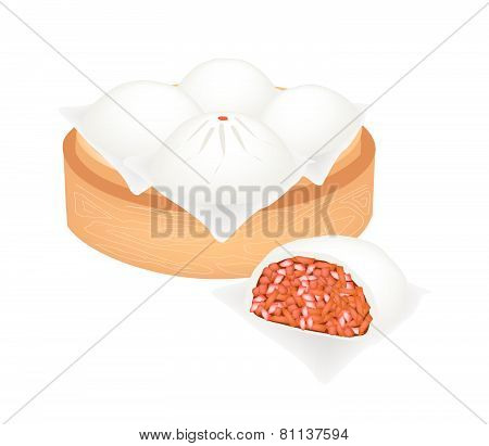 Chinese Steamed Pork Bun On Bamboo Basket