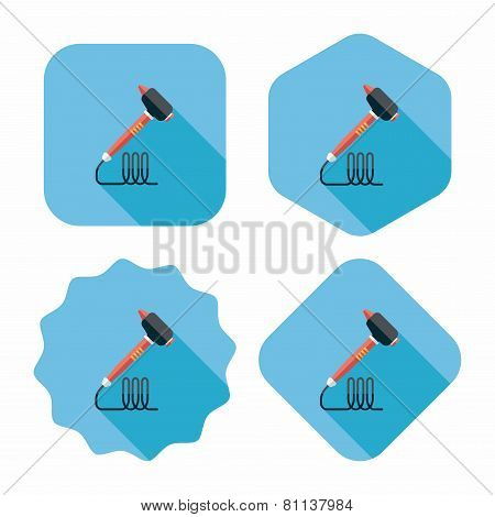 Dental Drill Flat Icon With Long Shadow