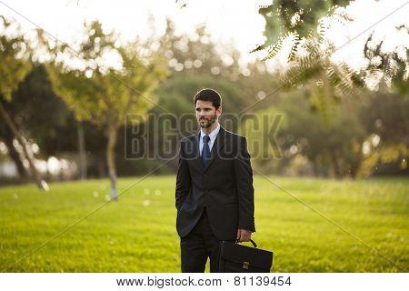 Businessman walking at the park