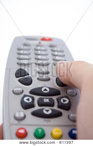 A hand holding a remote