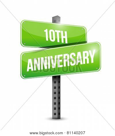 10Th Anniversary Road Sign Illustration Design